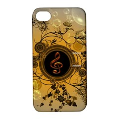 Decorative Clef On A Round Button With Flowers And Bubbles Apple Iphone 4/4s Hardshell Case With Stand by FantasyWorld7