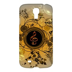 Decorative Clef On A Round Button With Flowers And Bubbles Samsung Galaxy S4 I9500/i9505 Hardshell Case by FantasyWorld7