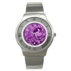 Vintage Purple Lady Cameo Stainless Steel Watch by BrightVibesDesign