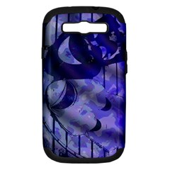 Blue Theater Drama Comedy Masks Samsung Galaxy S III Hardshell Case (PC+Silicone)