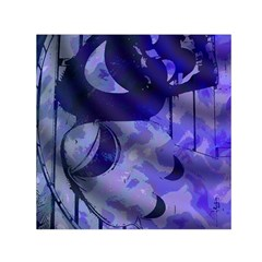 Blue Theater Drama Comedy Masks Small Satin Scarf (Square)