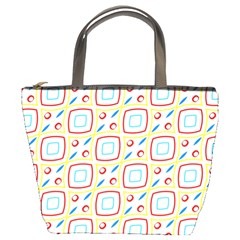 Squares Rhombus And Circles Pattern  	bucket Bag by LalyLauraFLM