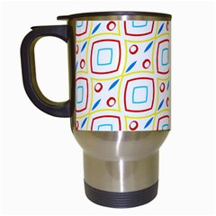 Squares Rhombus And Circles Pattern  Travel Mug (white) by LalyLauraFLM