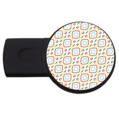 Squares Rhombus And Circles Pattern  			usb Flash Drive Round (2 Gb) by LalyLauraFLM