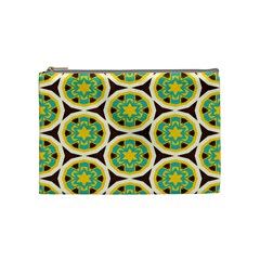 Blue Yellow Flowers Pattern Cosmetic Bag by LalyLauraFLM
