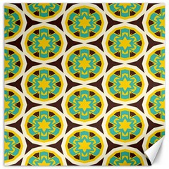 Blue Yellow Flowers Pattern 			canvas 16  X 16  by LalyLauraFLM
