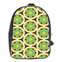 Blue Yellow Flowers Pattern 			school Bag (large) by LalyLauraFLM