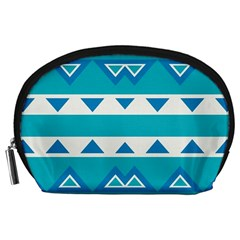 Blue Triangles And Stripes  Accessory Pouch