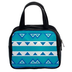Blue Triangles And Stripes  Classic Handbag (two Sides) by LalyLauraFLM