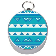 Blue Triangles And Stripes  Silver Compass