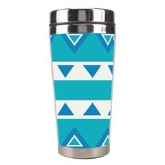 Blue Triangles And Stripes  Stainless Steel Travel Tumbler by LalyLauraFLM
