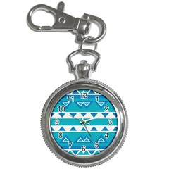 Blue Triangles And Stripes  			key Chain Watch by LalyLauraFLM