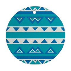 Blue Triangles And Stripes  			ornament (round)