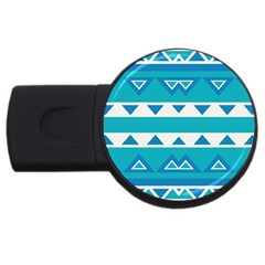 Blue Triangles And Stripes  			usb Flash Drive Round (2 Gb) by LalyLauraFLM