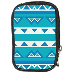 Blue Triangles And Stripes  			compact Camera Leather Case by LalyLauraFLM