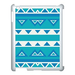 Blue Triangles And Stripes  			apple Ipad 3/4 Case (white) by LalyLauraFLM