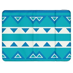 Blue Triangles And Stripes  			samsung Galaxy Tab 7  P1000 Flip Case by LalyLauraFLM