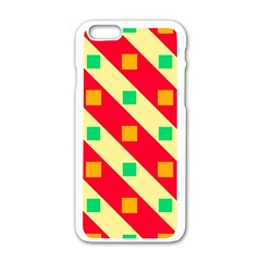Squares And Stripes    			apple Iphone 6/6s White Enamel Case by LalyLauraFLM
