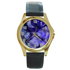 Blue Theater Drama Comedy Masks Round Gold Metal Watch