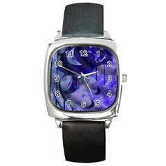 Blue Theater Drama Comedy Masks Square Metal Watch