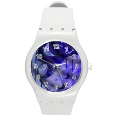 Blue Theater Drama Comedy Masks Round Plastic Sport Watch (M)