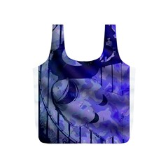 Blue Theater Drama Comedy Masks Full Print Recycle Bags (S)