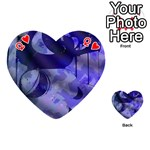 Blue Theater Drama Comedy Masks Playing Cards 54 (Heart)  Front - HeartQ