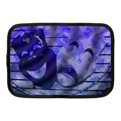Blue Comedy Drama Theater Masks Netbook Case (medium)  by BrightVibesDesign