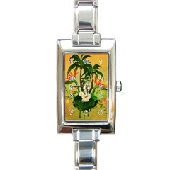Tropical Design With Flowers And Palm Trees Rectangle Italian Charm Watch by FantasyWorld7
