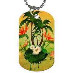 Tropical Design With Flowers And Palm Trees Dog Tag (two Sides) by FantasyWorld7