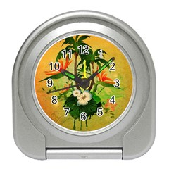 Tropical Design With Flowers And Palm Trees Travel Alarm Clocks by FantasyWorld7