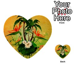 Tropical Design With Flowers And Palm Trees Multi-purpose Cards (heart)