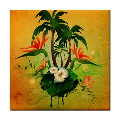 Tropical Design With Flowers And Palm Trees Face Towel by FantasyWorld7