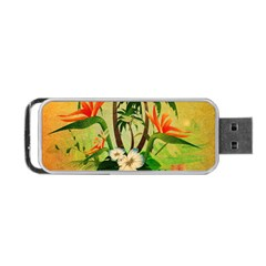 Tropical Design With Flowers And Palm Trees Portable Usb Flash (two Sides) by FantasyWorld7