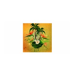 Tropical Design With Flowers And Palm Trees Satin Wrap by FantasyWorld7