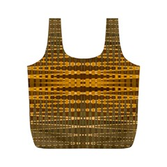 Yellow Gold Khaki Glow Pattern Full Print Recycle Bags (m)  by BrightVibesDesign