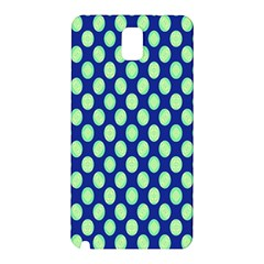 Mod Retro Green Circles On Blue Samsung Galaxy Note 3 N9005 Hardshell Back Case by BrightVibesDesign