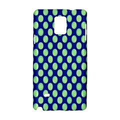 Mod Retro Green Circles On Blue Samsung Galaxy Note 4 Hardshell Case by BrightVibesDesign