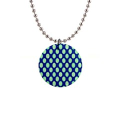 Mod Retro Green Circles On Blue Button Necklaces by BrightVibesDesign