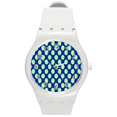 Mod Retro Green Circles On Blue Round Plastic Sport Watch (m) by BrightVibesDesign