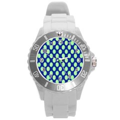 Mod Retro Green Circles On Blue Round Plastic Sport Watch (l) by BrightVibesDesign