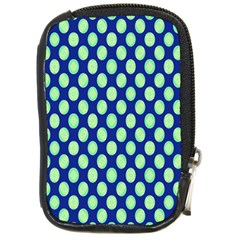 Mod Retro Green Circles On Blue Compact Camera Cases by BrightVibesDesign