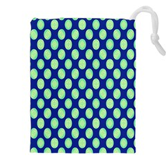 Mod Retro Green Circles On Blue Drawstring Pouches (xxl)