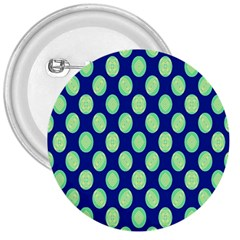 Mod Retro Green Circles On Blue 3  Buttons by BrightVibesDesign