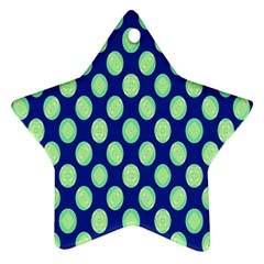 Mod Retro Green Circles On Blue Ornament (star)