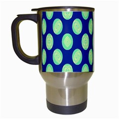 Mod Retro Green Circles On Blue Travel Mugs (white) by BrightVibesDesign