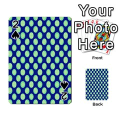 Mod Retro Green Circles On Blue Playing Cards 54 Designs