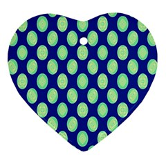 Mod Retro Green Circles On Blue Heart Ornament (2 Sides) by BrightVibesDesign