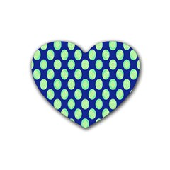 Mod Retro Green Circles On Blue Rubber Coaster (heart)  by BrightVibesDesign