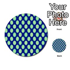 Mod Retro Green Circles On Blue Multi Purpose Cards (round)  by BrightVibesDesign